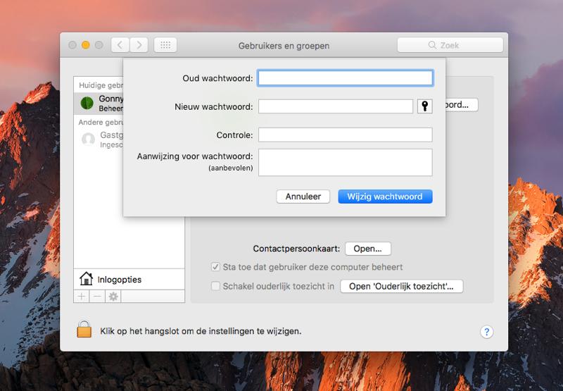 Mac-wachtwoord wijzigen