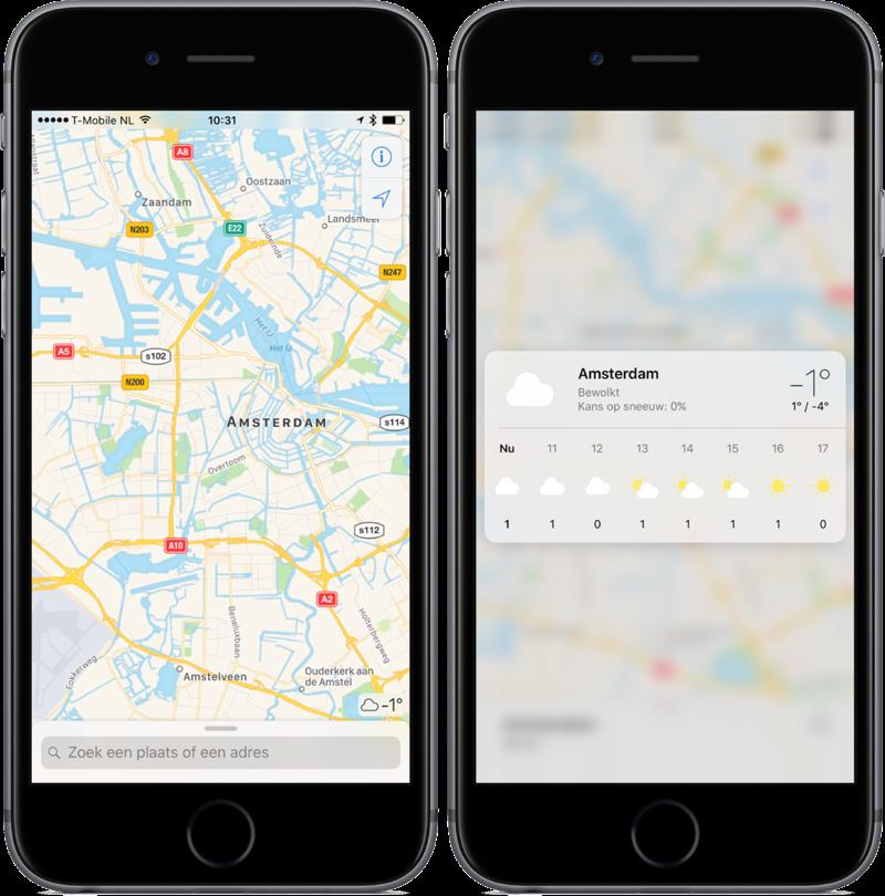 3D Touch in Kaarten met het weerbericht in iOS 10.3.