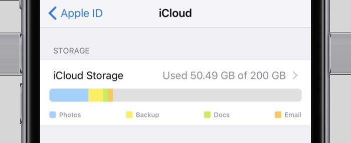 iCloud-opslag, nieuwe weergave in iOS 10.3