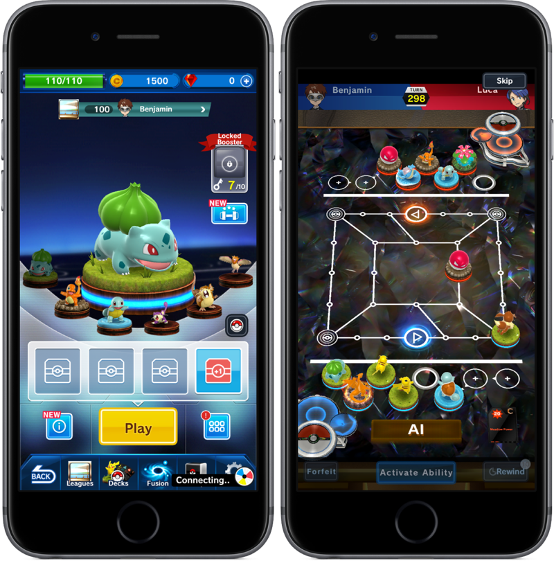 Pokémon Duel gevecht op de iPhone.