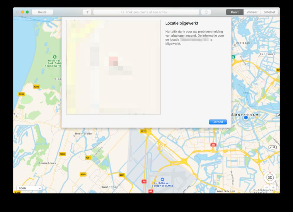 Correctie in Apple Kaarten op de Mac.