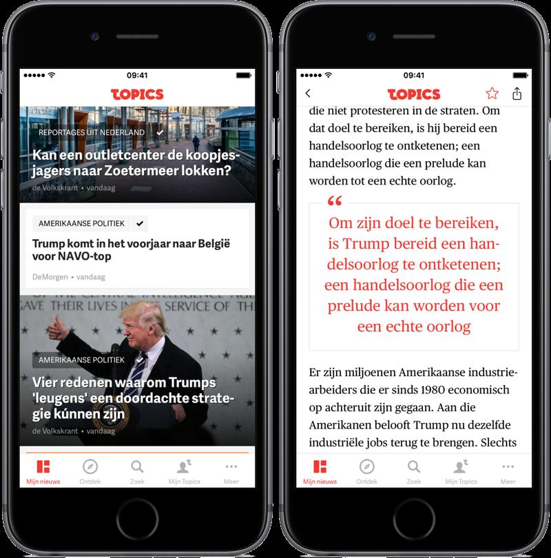 Artikel lezen in Topics NL.