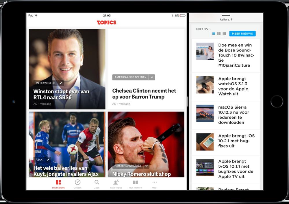 Topics NL op de iPad met Split View.