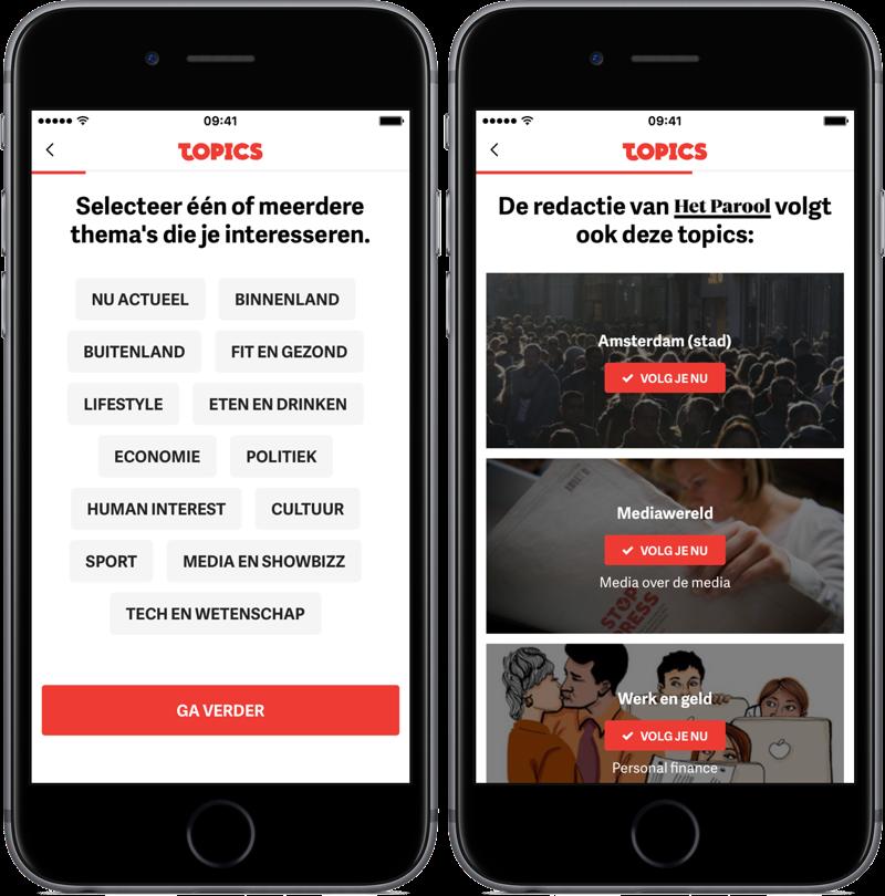 Onderwerpen kiezen in Topics NL.