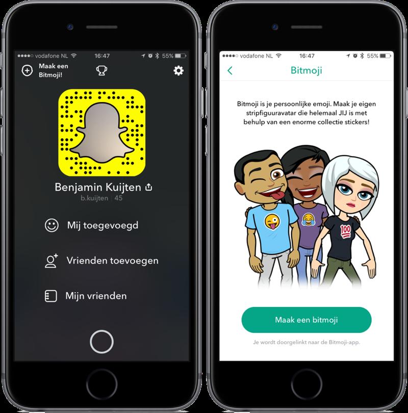 Bitmoji in Snapchat.