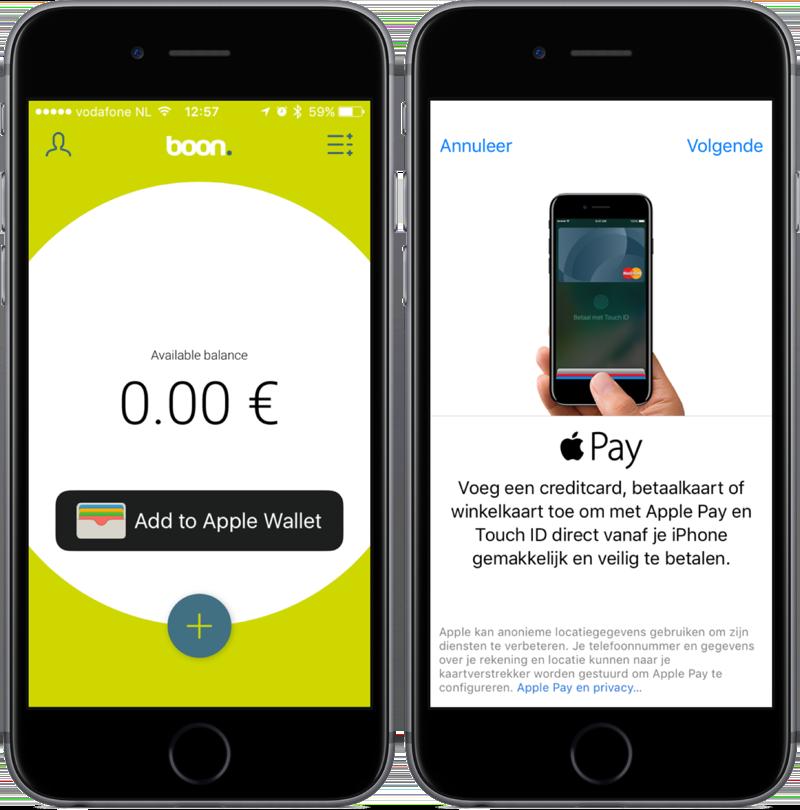 boon-app met het beginscherm en Apple Pay.