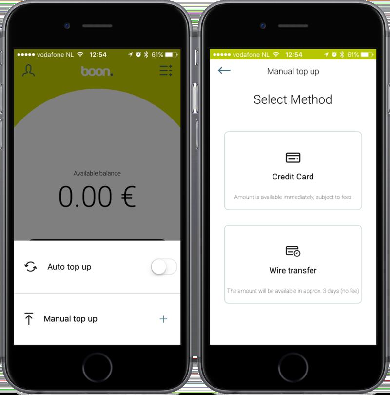boon-app met saldo toevoegen.