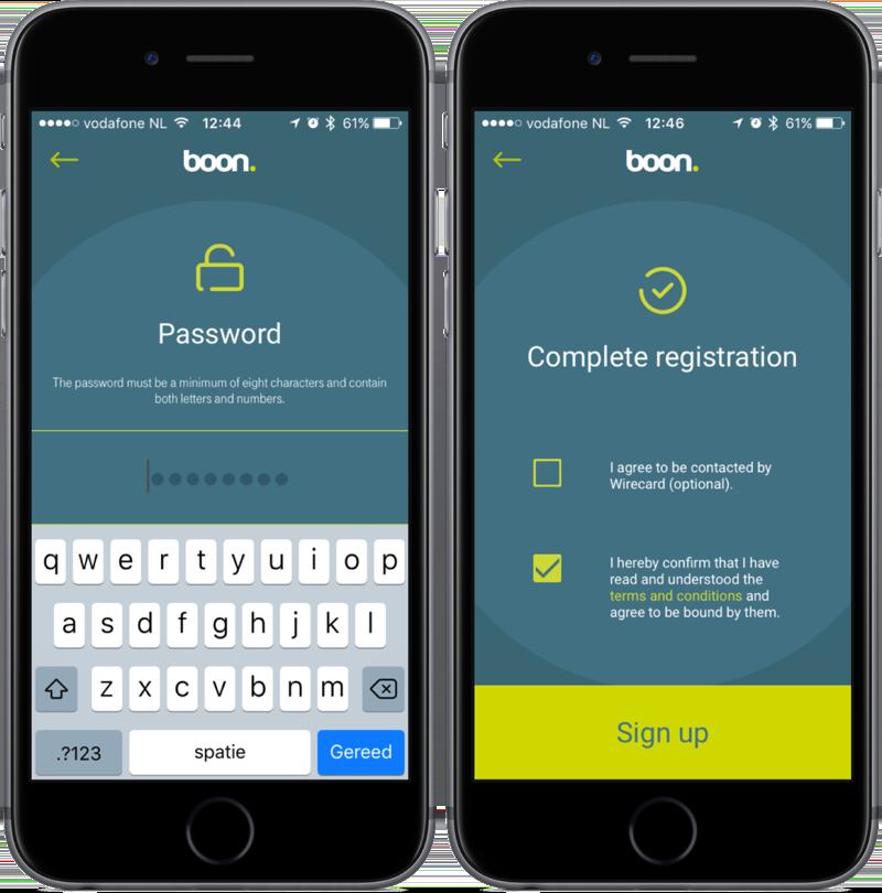 Wachtwoord en registratie in de boon-app.