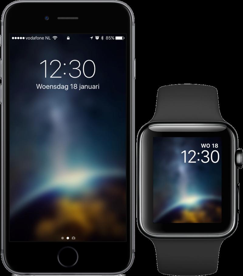 Vellum met achtergrond op iPhone en Apple Watch.