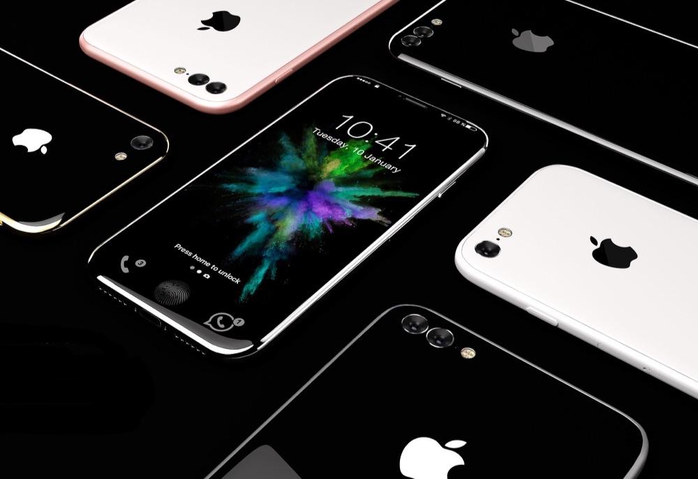 iPhone 8-concept met verschillende kleuren.
