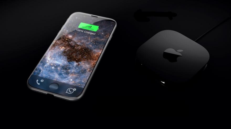 iPhone 8-concept met draadloze oplader.