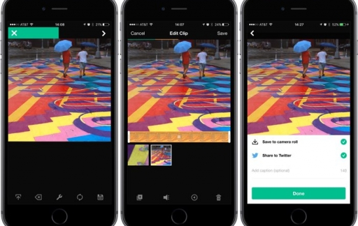 Vine Camera-app op een iPhone