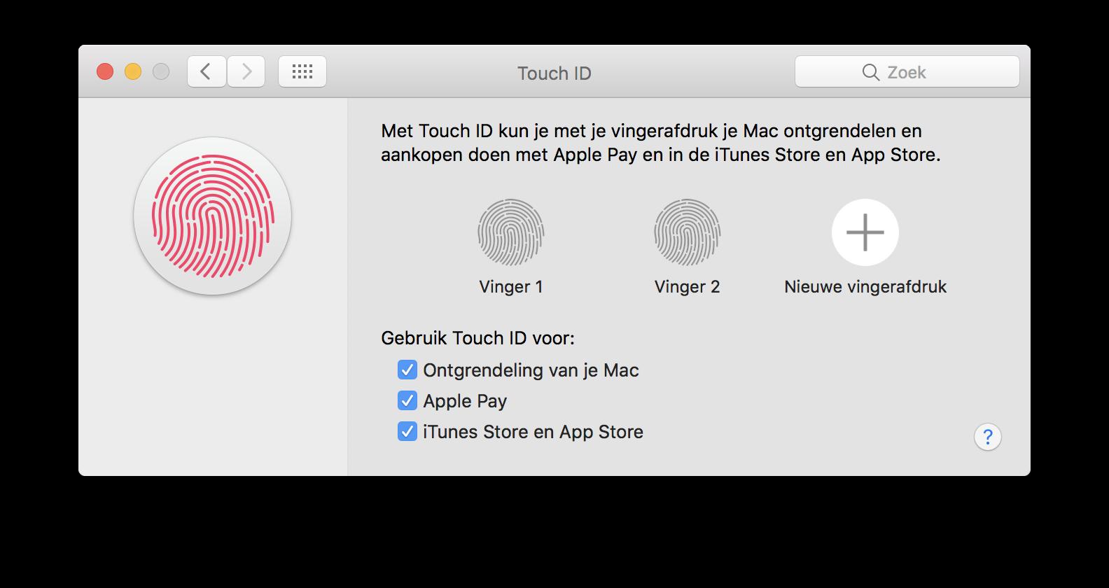 Touch ID vingers op de Mac.