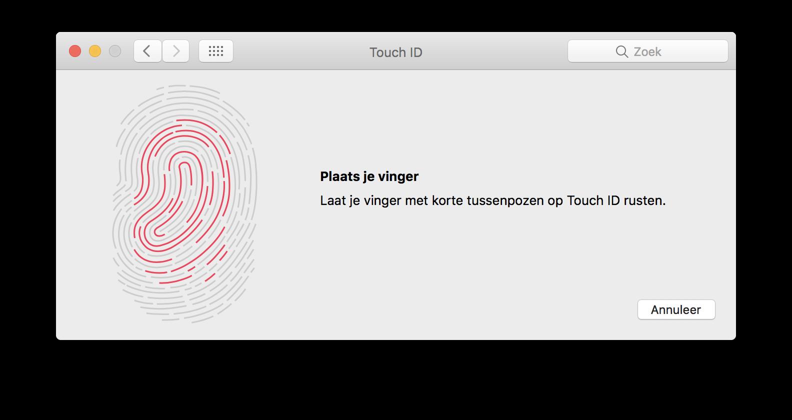 Touch ID instellen op de Mac.