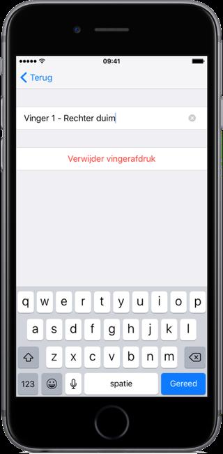 Touch ID instellen en naam kiezen.