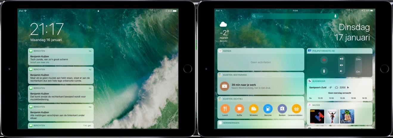 Schermindeling van meldingen en widgets op een iPad.