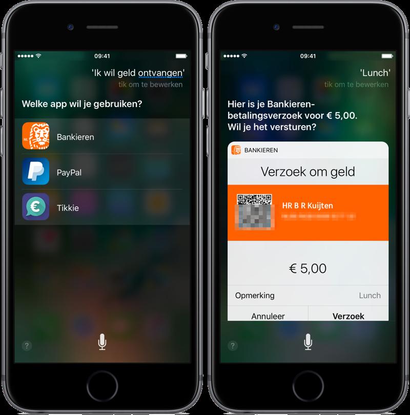 ING Bankieren met betaalverzoek via Siri.