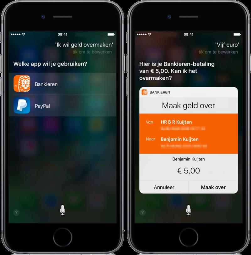 ING Bankieren met geld overmaken via Siri.