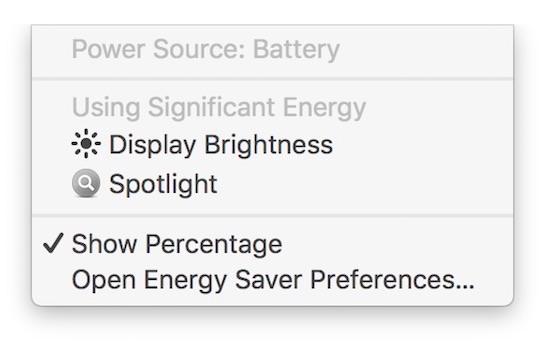 Stroomverbruik van de helderheid van het scherm op een MacBook.