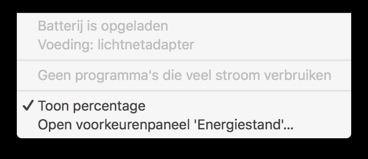 Stroomverbruik weergegeven op een MacBook Pro.