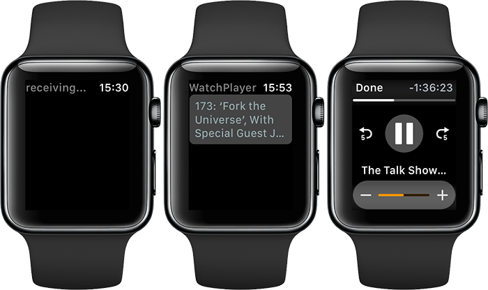 WatchPlayer op de Apple Watch