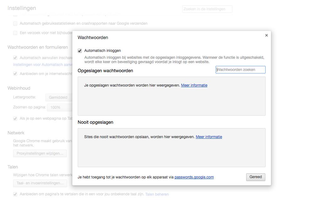 Chrome wachtwoorden