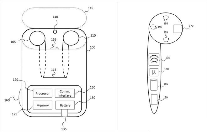 AirPods-patent: AirPods in het doosje