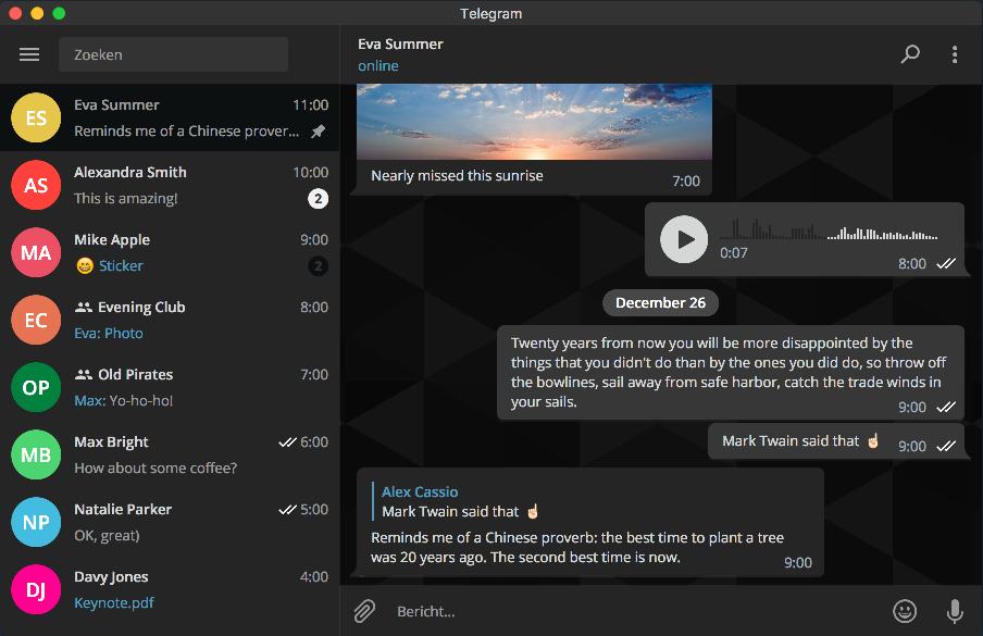 Donker thema van Telegram op de desktop.