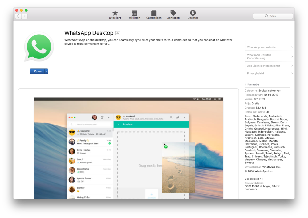 WhatsApp Desktop in de Mac App Store.