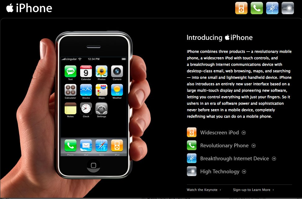 Apple-website over de eerste iPhone