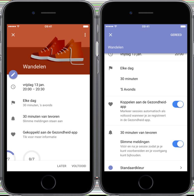 Doel bewerken in Google Agenda.