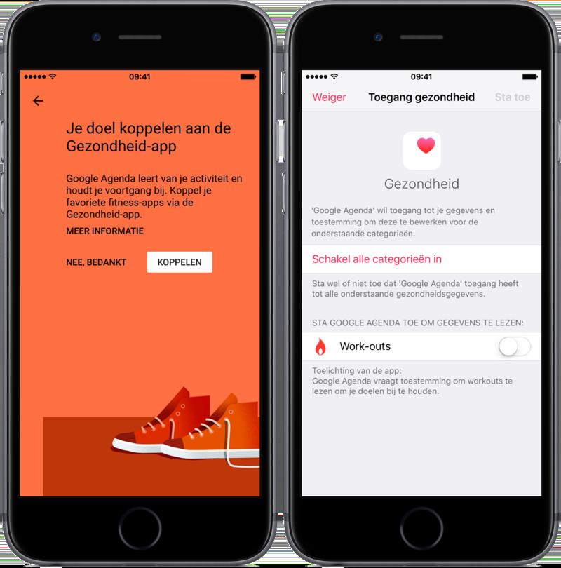 Google Agenda en koppeling met de Gezondheid-app.