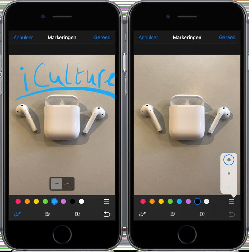 Tekenen in Markeringen in de Foto's-app.