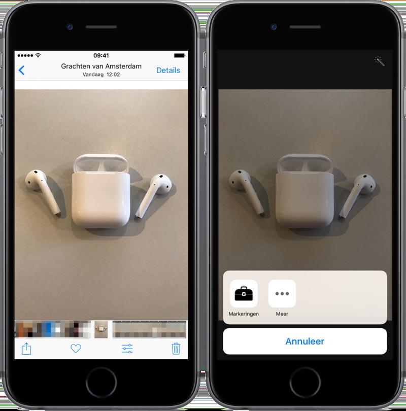 Markeringen (Markup) gebruiken in de Foto's-app.