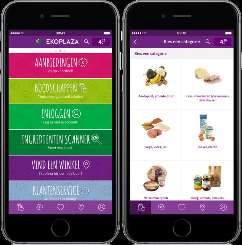 Ekoplaza-app met hoofdmenu en producten.
