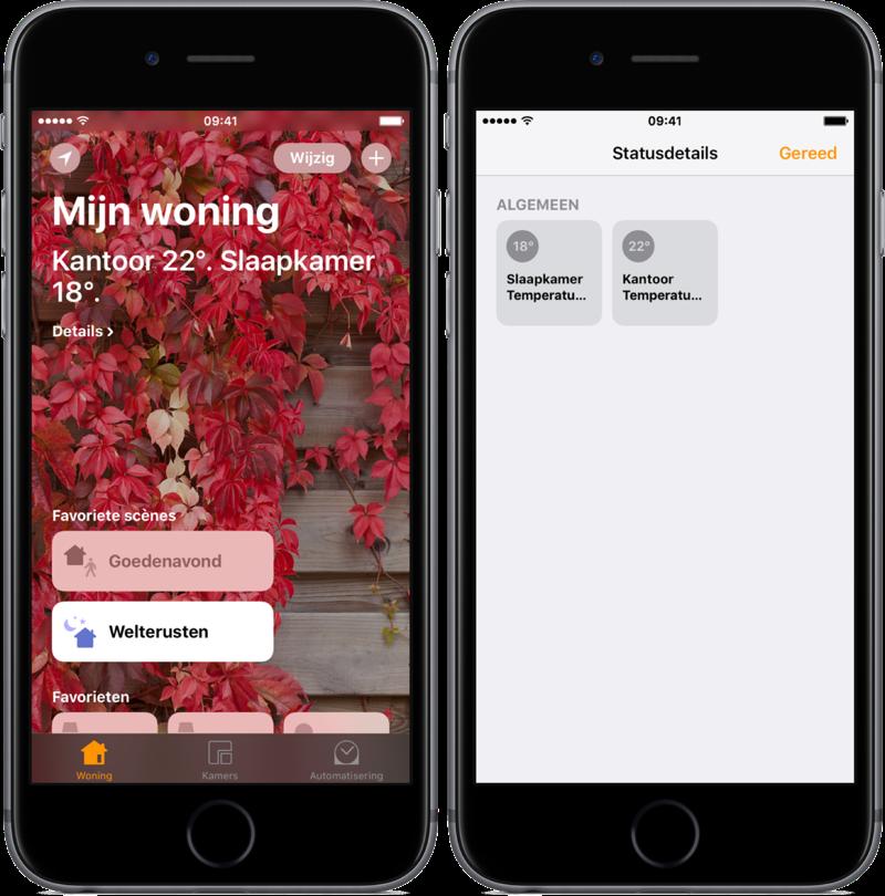 Statusdetails bekijken in de Woning-app.