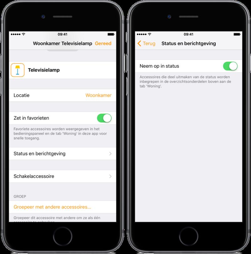 Status instellen voor accessoires in de Woning-app.