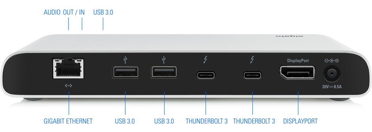 Elgato Thunderbolt 3 Dock met aansluitingen.