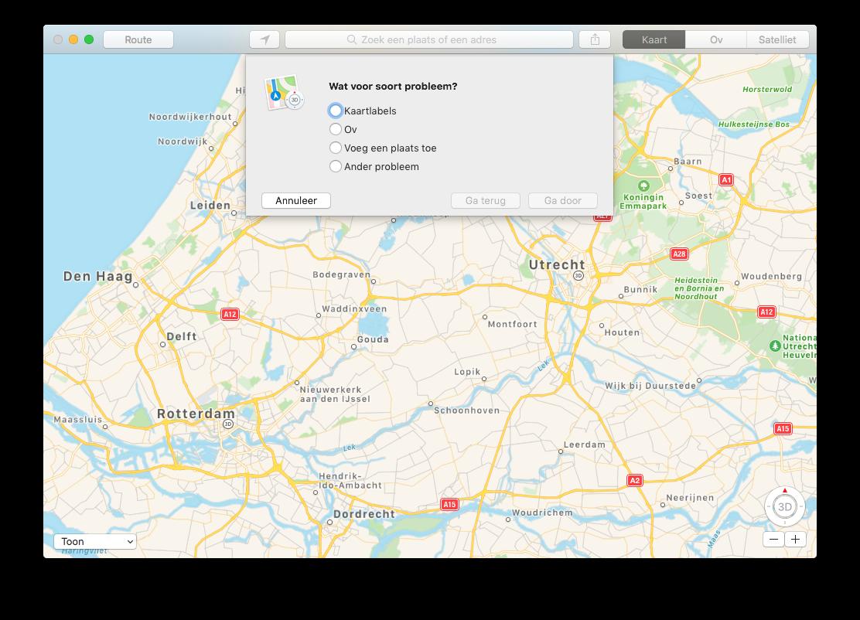 Probleem melden in Apple Kaarten op de Mac.