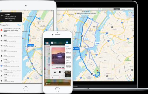 Apple Kaarten op iPad, iPhone en Mac.