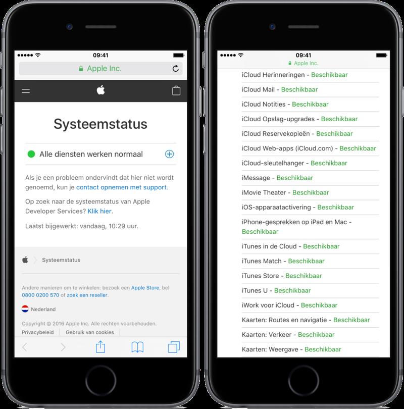 Apple systeemstatus pagina op de iPhone.