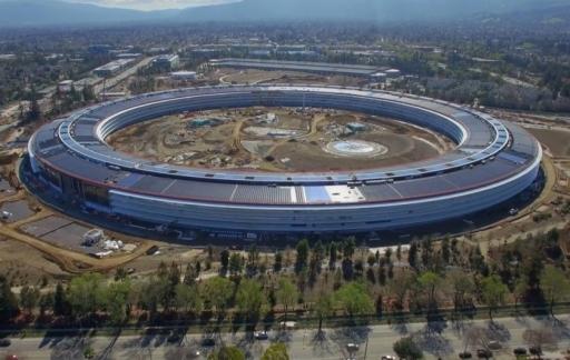 Apple Park spaceship in februari 2017.