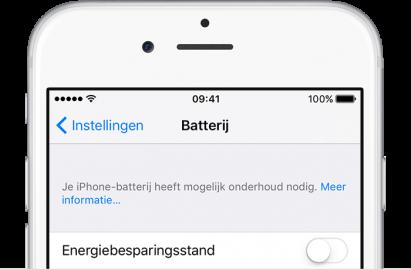 iOS 10.2.1 en later geeft een waarschuwing bij slechte batterij.