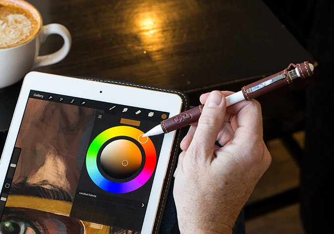 Leather Apple Pencil Grip voor iPad Pro.