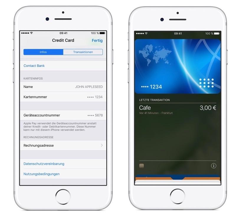 Apple Pay Duitsland screenshots.