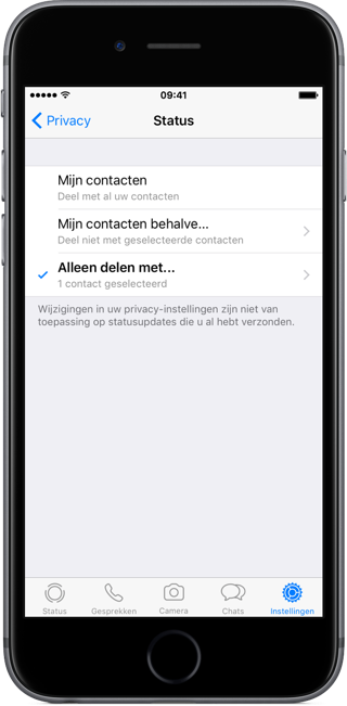 Privacy van WhatsApp Status.