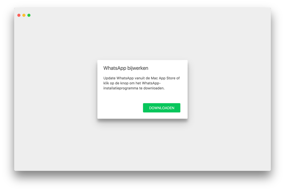 WhatsApp voor Mac bijwerken.