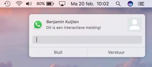 Interactieve melding in WhatsApp voor de Mac.