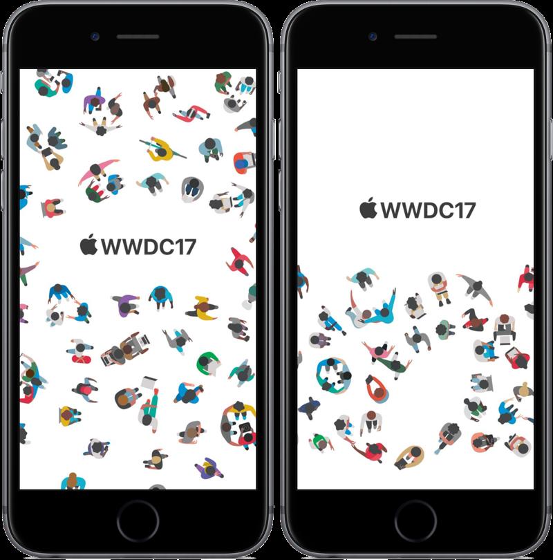 WWDC 2017-achtergrond voor iPhone met logo.