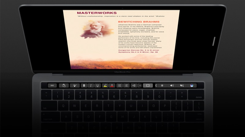 Microsoft Office Word met Touch Bar.